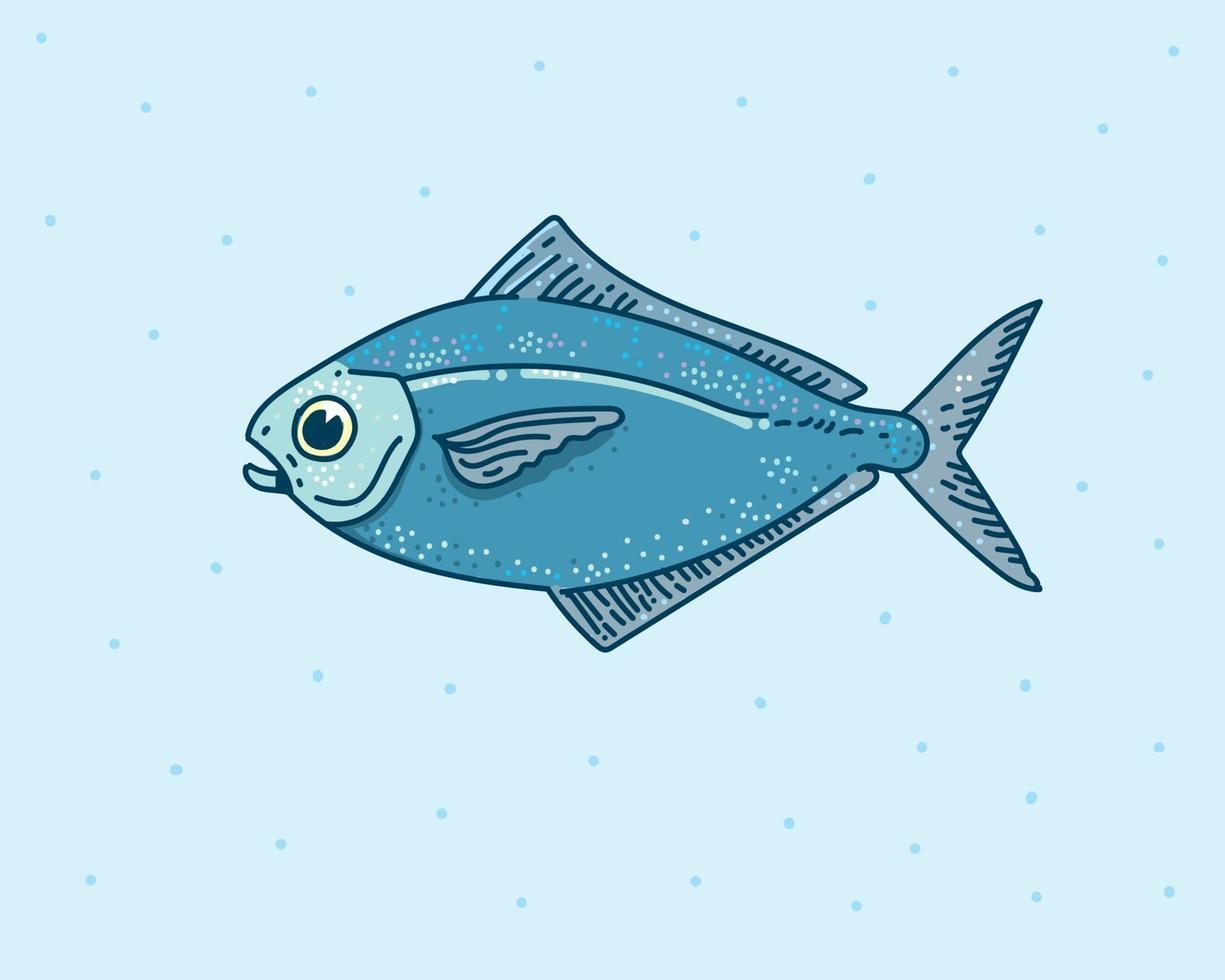 Fischhandzeichnung, niedliche Fischvektorillustration vektor