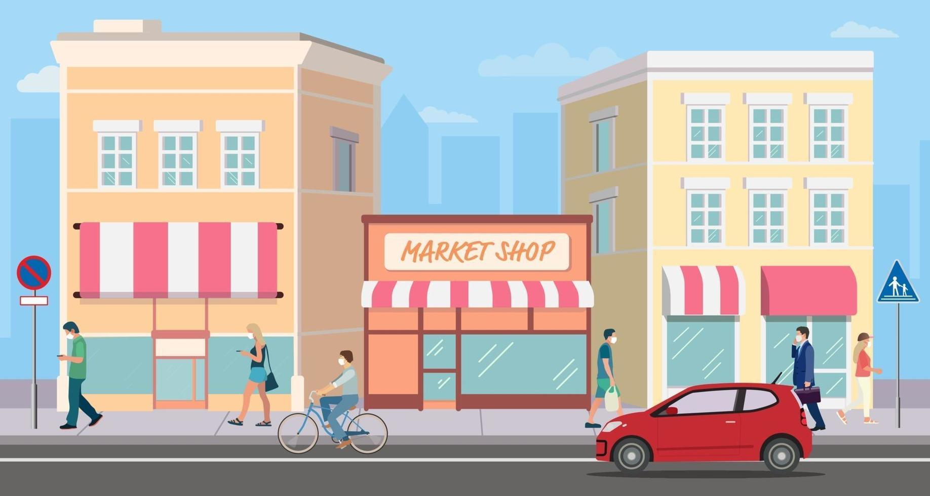 flaches Gebäude einkaufen Straßenmarkt mit Menschen. Stadtbild und Mann zu Fuß. Ladenfassade auf der Straße mit dem Auto. moderne Ladengebäude und Aktivitäten für Menschen. Geschäftsstraßenkonzept vektor