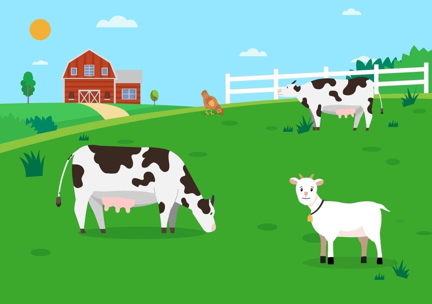 Naturfarm mit Tieren. Ackerland mit Kühen und Hühnern. Flaches Design der ländlichen Farmszene. Öko-Bauernhof mit Tieren. vektor