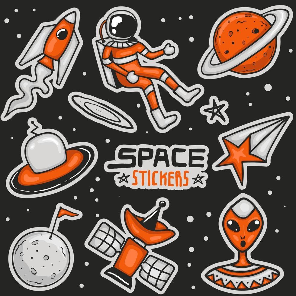 färgglada handritade rymdklistermärken samling vektor