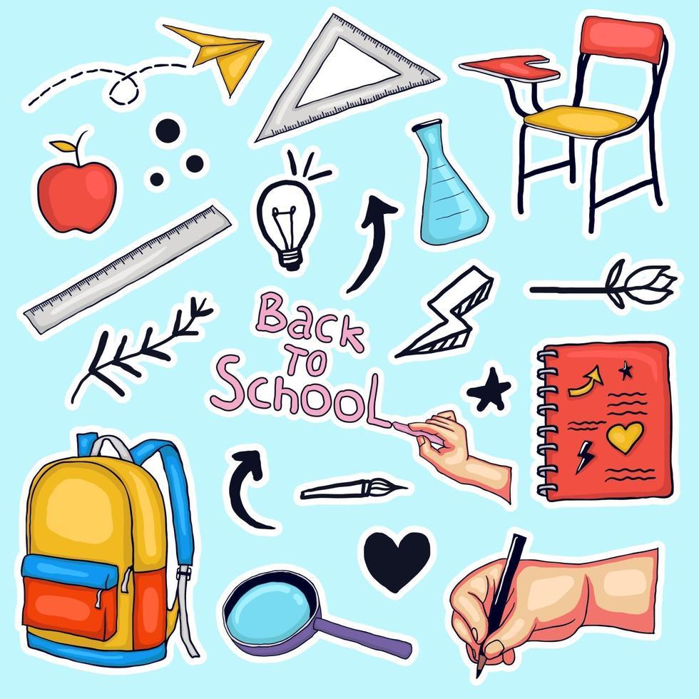 bunte Hand, die zurück zur Schulaufklebersammlung gezeichnet wird vektor