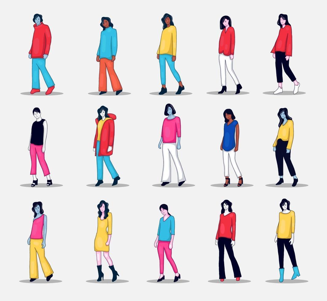 Sammlung von Personen Charakterillustration, die Fotopose tut vektor