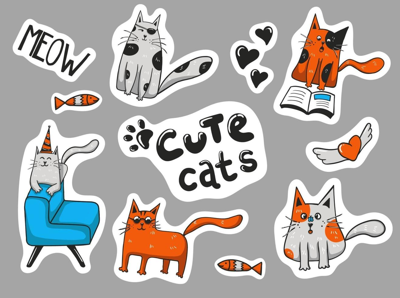 färgglada handritade söta katter klistermärken samling vektor