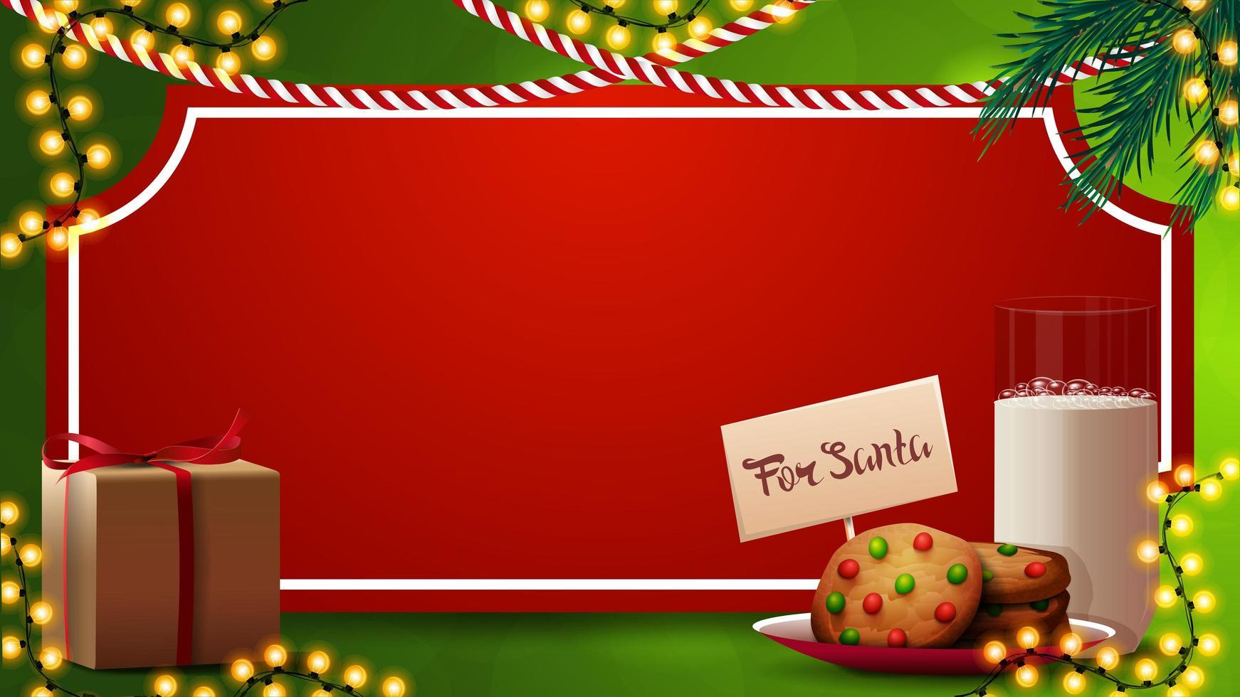 Weihnachtsschablone für Ihre Künste mit rotem Papierblatt in Form von Weinleseticket, Weihnachtsbaumzweigen, Girlanden und Keksen mit einem Glas Milch für Weihnachtsmann vektor
