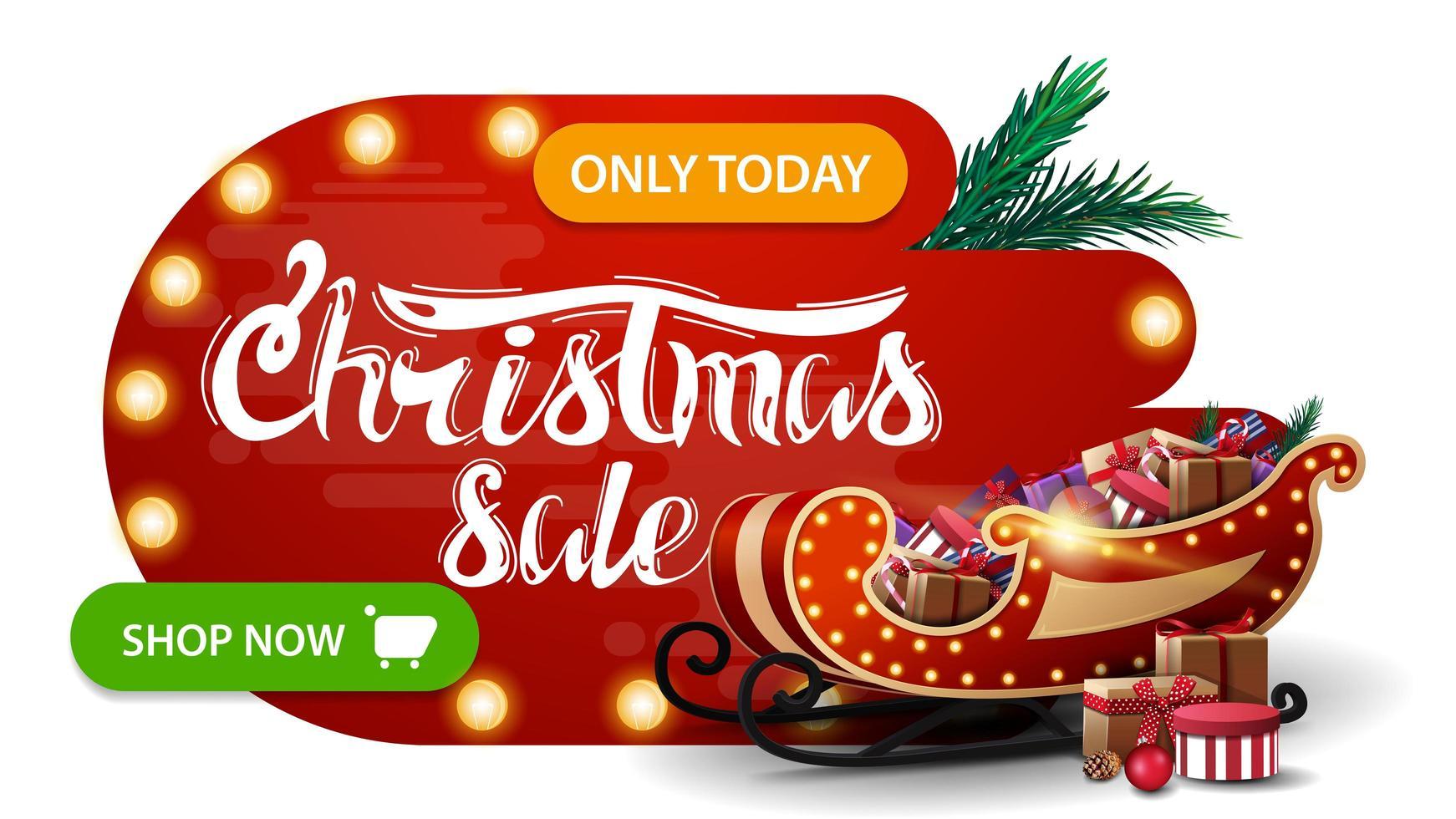 Weihnachtsverkauf, rotes Rabattbanner in abstrakten flüssigen Formen mit Glühbirnen, grünem Knopf, schönem Schriftzug und Weihnachtsschlitten mit Geschenken vektor