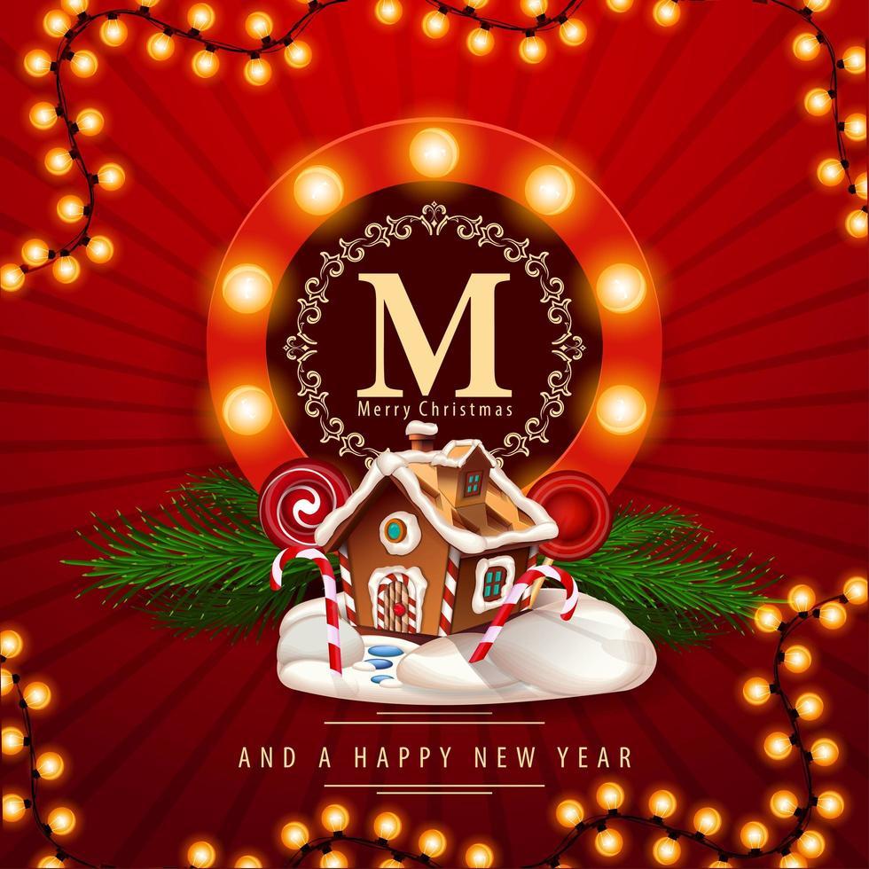 Frohe Weihnachten und ein gutes neues Jahr, rote quadratische Postkarte mit Weihnachtslebkuchenhaus. Grußkarte mit rundem Logo mit Glühbirnen vektor