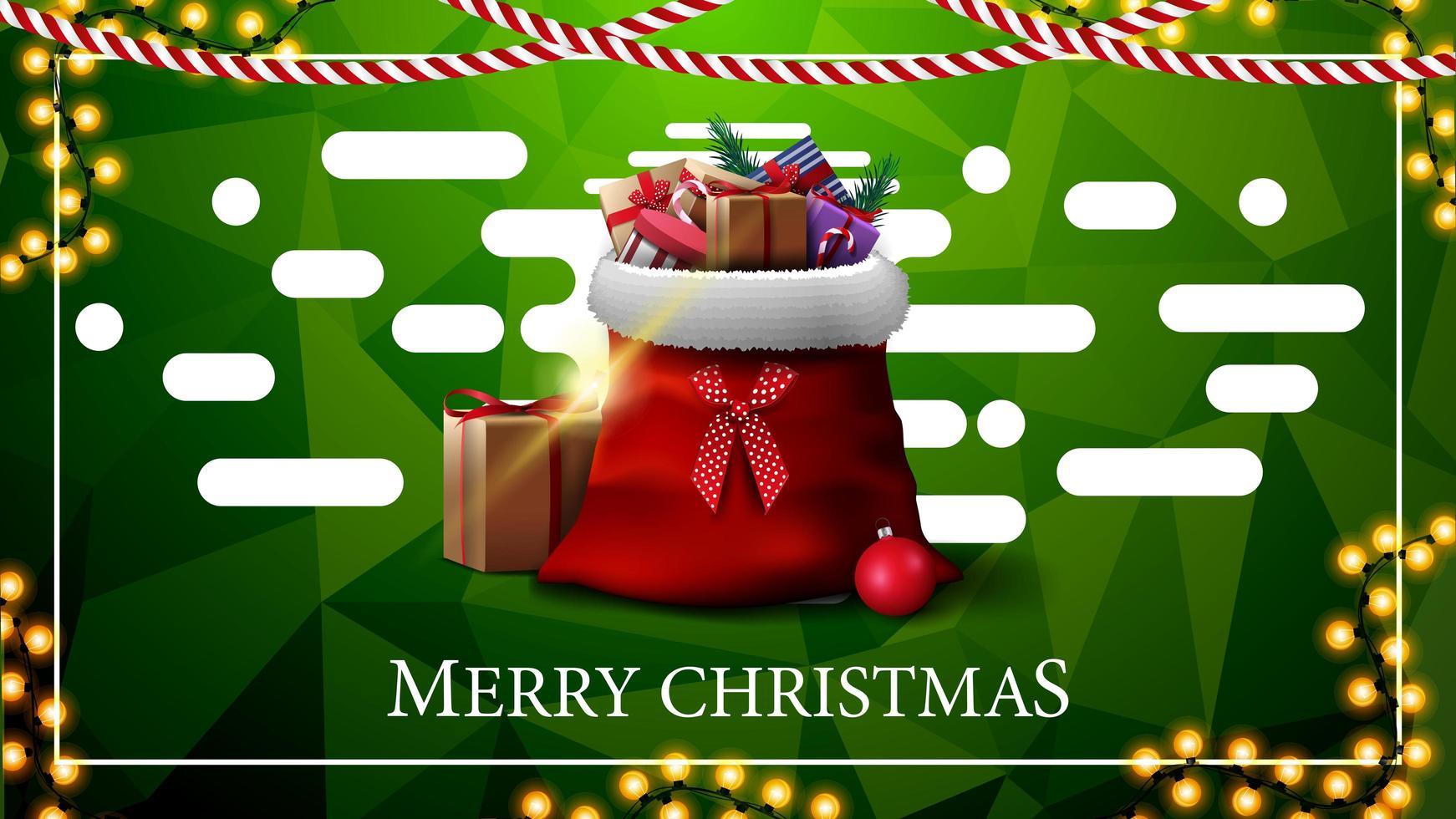 Frohe Weihnachten, grüne Postkarte mit Girlanden, polygonale Textur, abstrakte flüssige Formen und Weihnachtsmann-Tasche mit Geschenken vektor