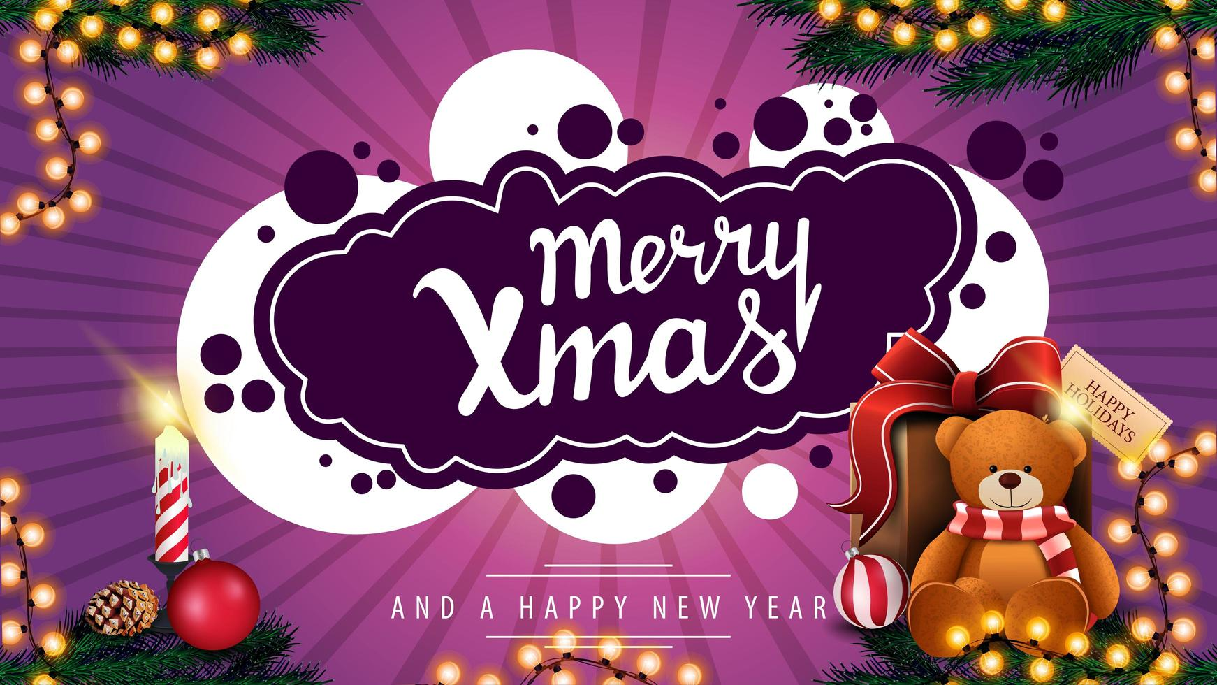 god jul, lila vykort med krans, ljus och present med nallebjörn vektor