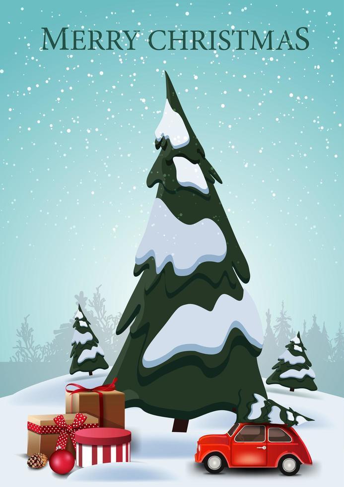 god jul, vertikalt vykort med tecknade granar, drivor, blå himmel och röd veteranbil som bär julgran med presenter under spru e vektor