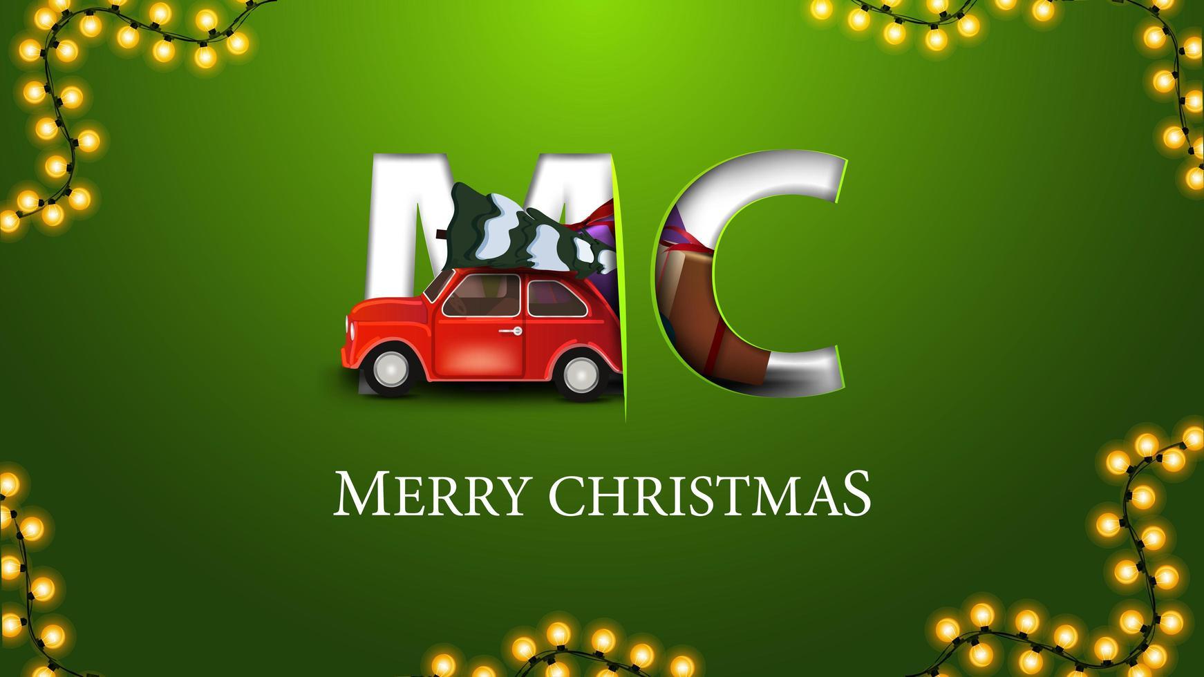 god jul, grönt vykort i minimalismstil med röd veteranbil som bär julgran vektor
