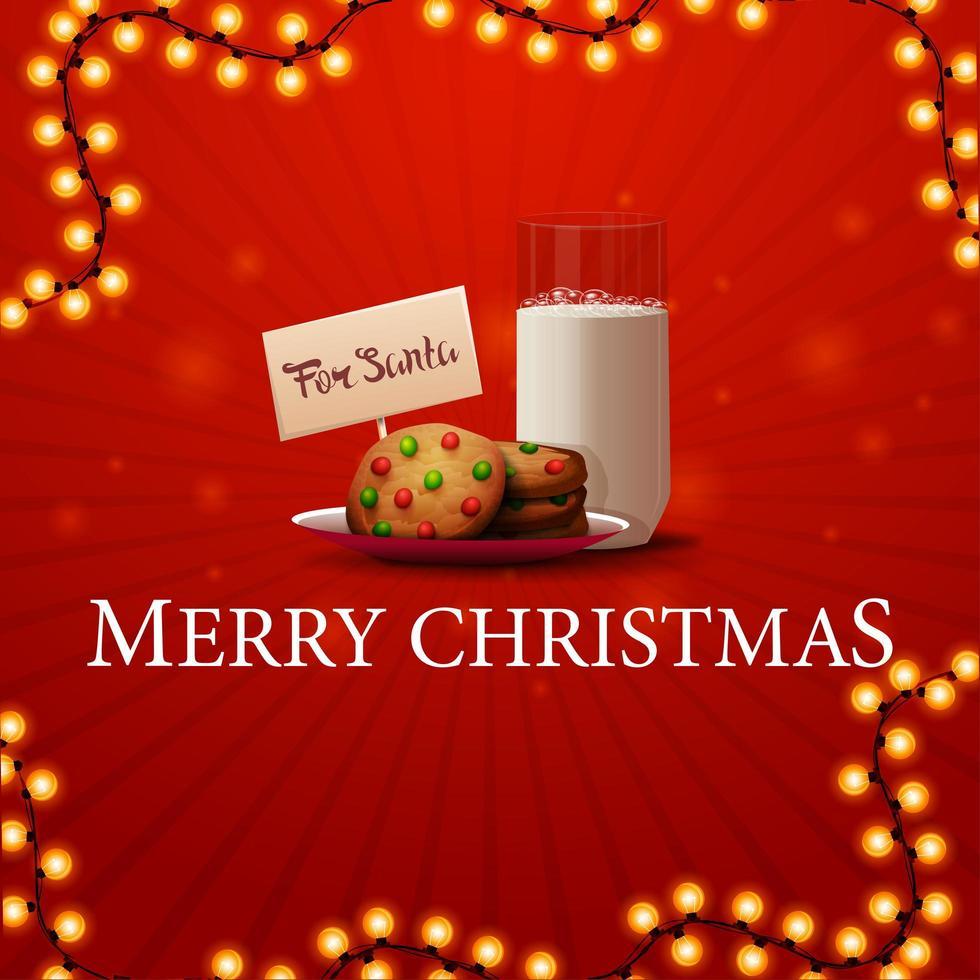 Frohe Weihnachten, quadratische rote Grußkarte mit Girlande und Kekse mit einem Glas Milch für Weihnachtsmann vektor