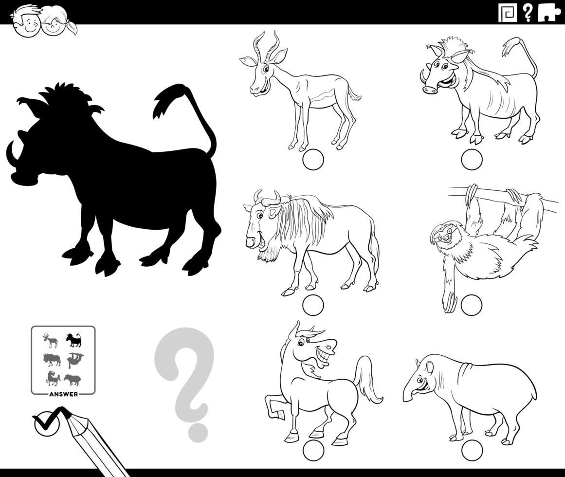 Schattenspiel mit Cartoon Tiere Farbbuch Seite vektor