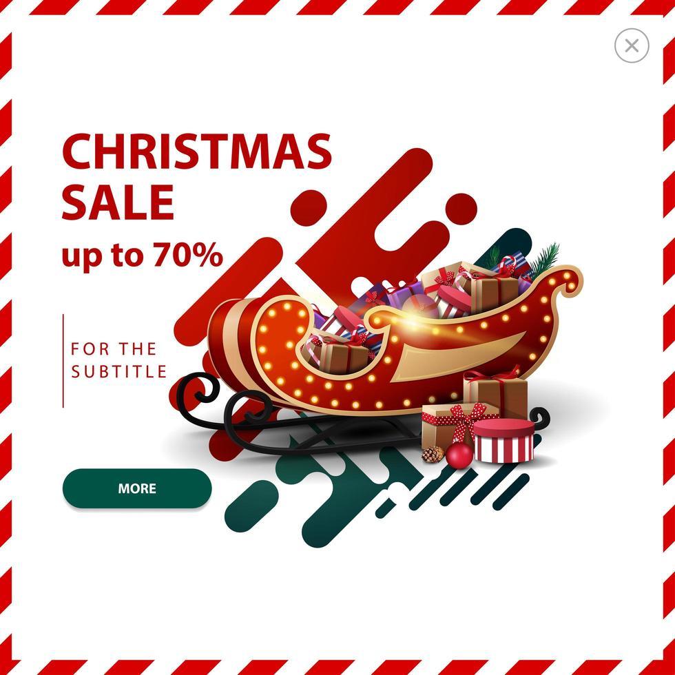 Weihnachtsverkauf, bis zu 70 Rabatt, rote und grüne Rabatt Pop-up mit abstrakten flüssigen Formen und Santa Schlitten mit Geschenken. vektor