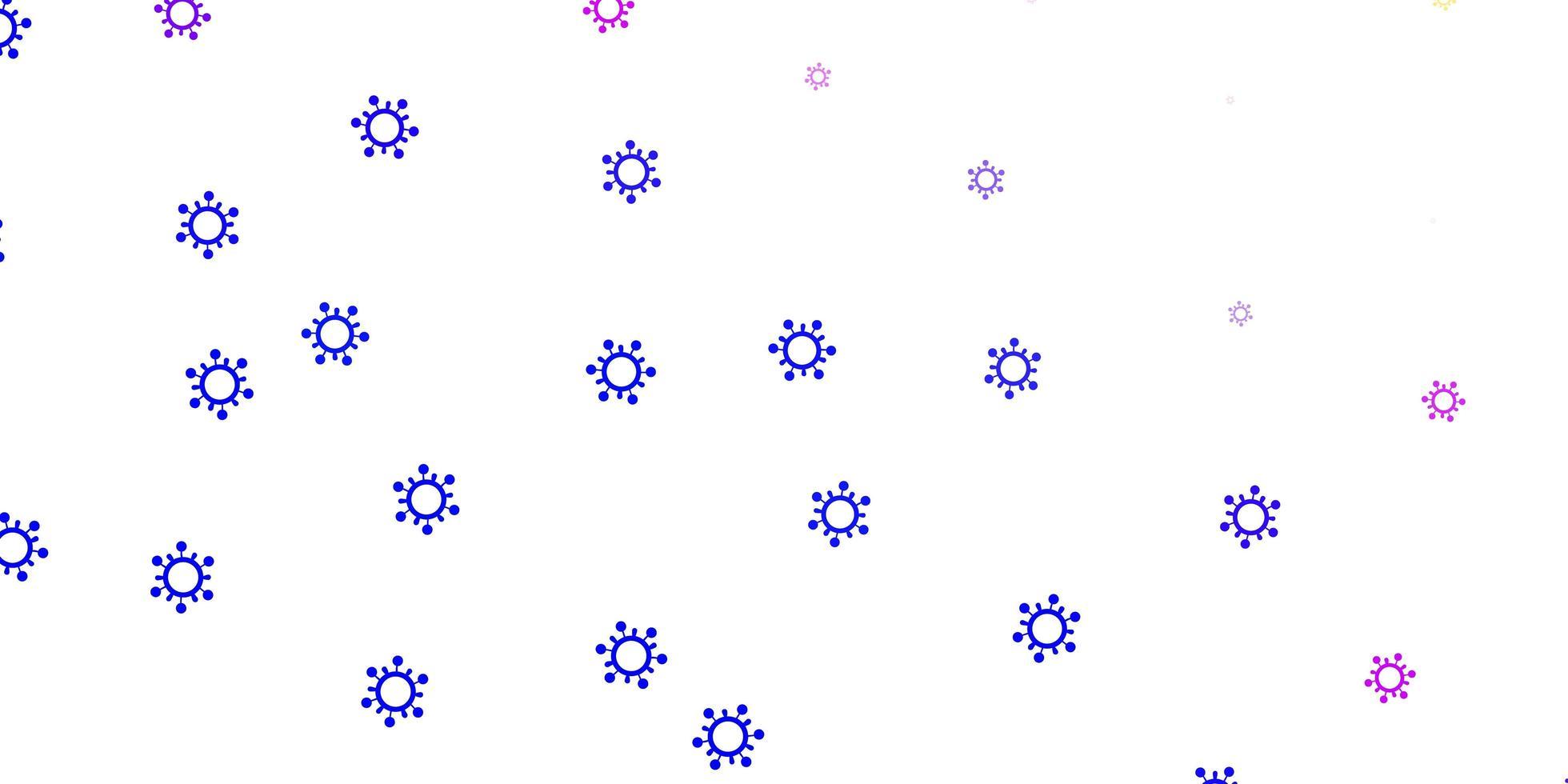 ljusrosa, blå vektormall med influensatecken. vektor