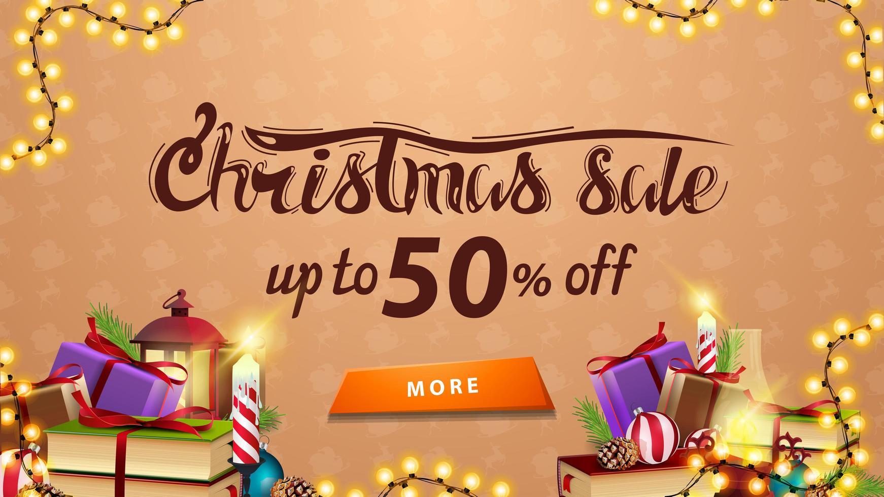 Weihnachtsverkauf, bis zu 50 Rabatt, beige Rabatt Banner mit Girlande, Knopf und vielen Geschenken vektor