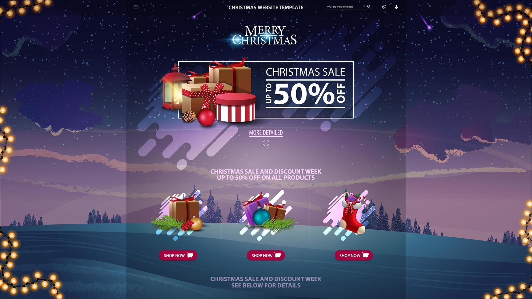 jul försäljning design webbplats mall med vinter skog i violett bakgrund vektor