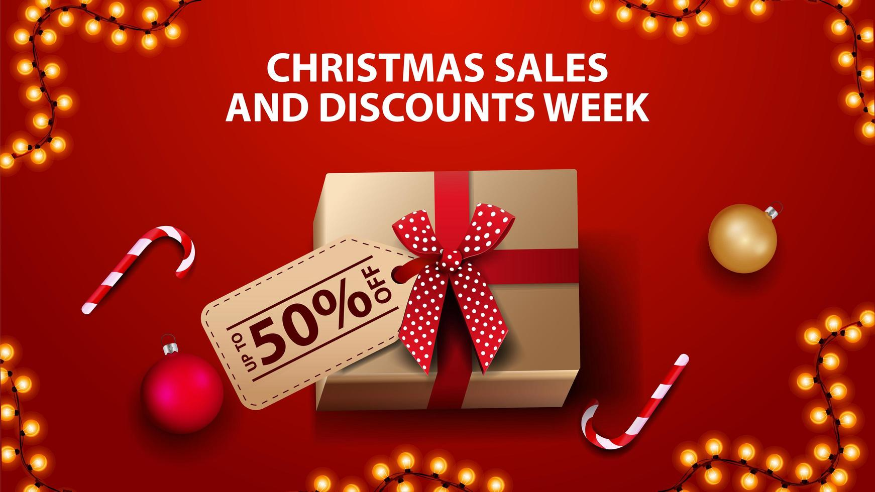 julförsäljning och rabattvecka, röd banner med presentask, julgranskulor och godisrotting, ovanifrån vektor