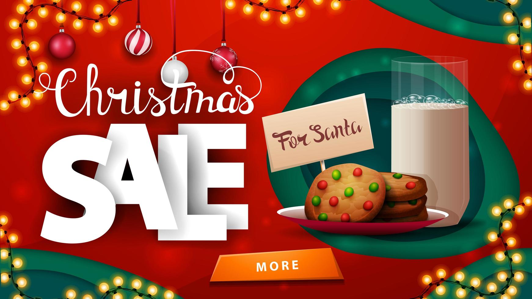 Weihnachtsverkauf, rotes Rabattbanner im Papierschnittstil mit Girlanden, Weihnachtskugeln, großen volumetrischen Buchstaben und Keksen für Weihnachtsmann mit Glas Milch vektor