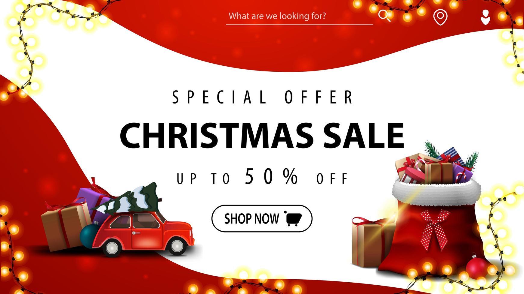 Sonderangebot, Weihnachtsverkauf, bis zu 50 Rabatt, rot-weißes Rabatt-Banner mit glatten Linien, rotes Oldtimer mit Weihnachtsbaum und Weihnachtsmann-Tasche mit Geschenken vektor