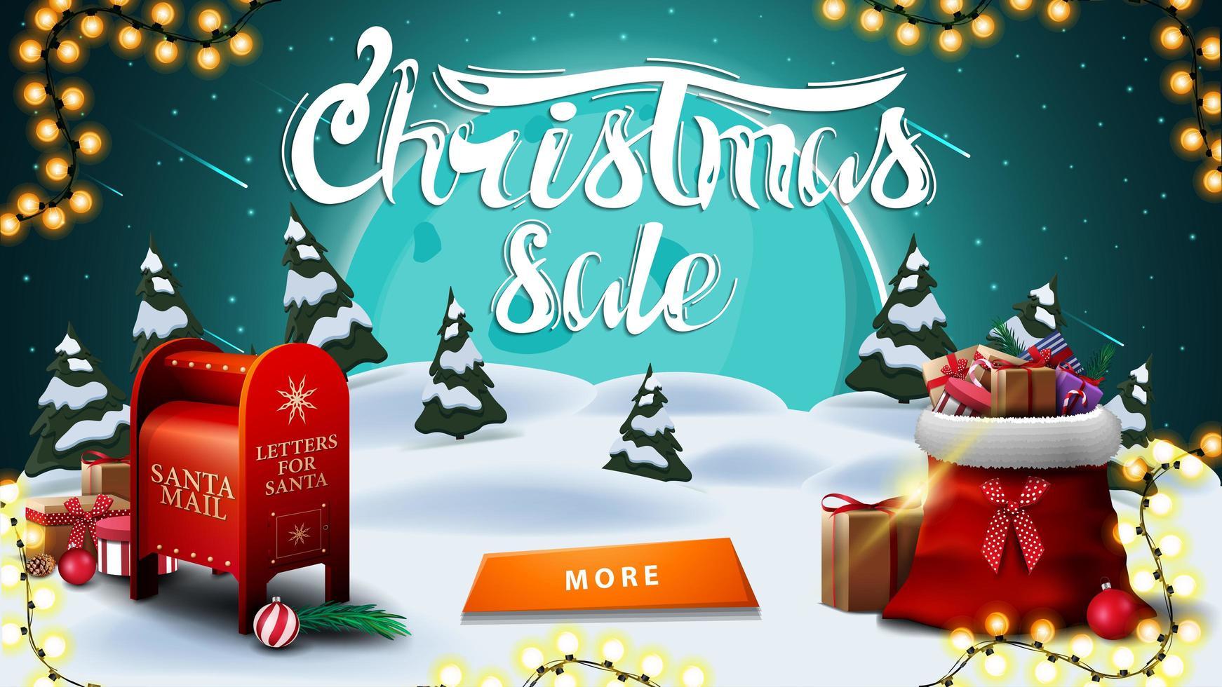 jul försäljning, rabatt banner med vinterlandskap. storblå måne, stjärnhimmel, krans, knapp, jultomten brevlåda och jultomten väska med presenter vektor