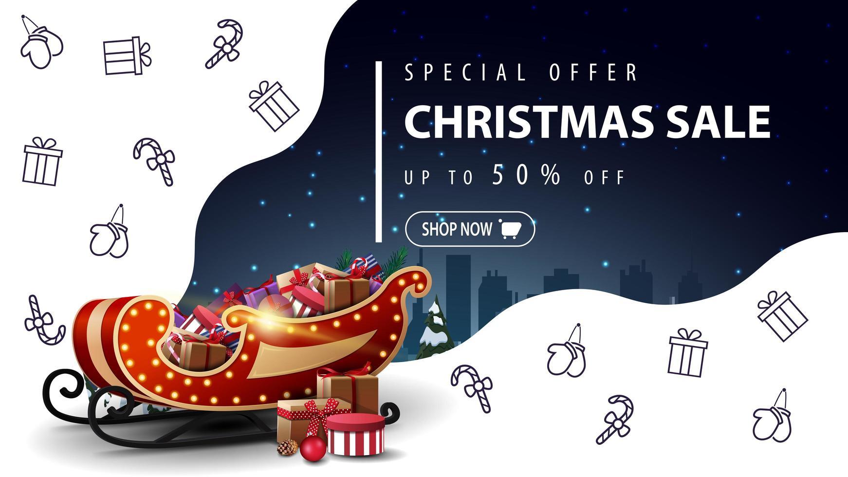 specialerbjudande, julförsäljning, upp till 50 rabatt, vacker vit och blå rabattbanner med jultomten med presenter och jullinjeikoner, rymdfantasi vektor