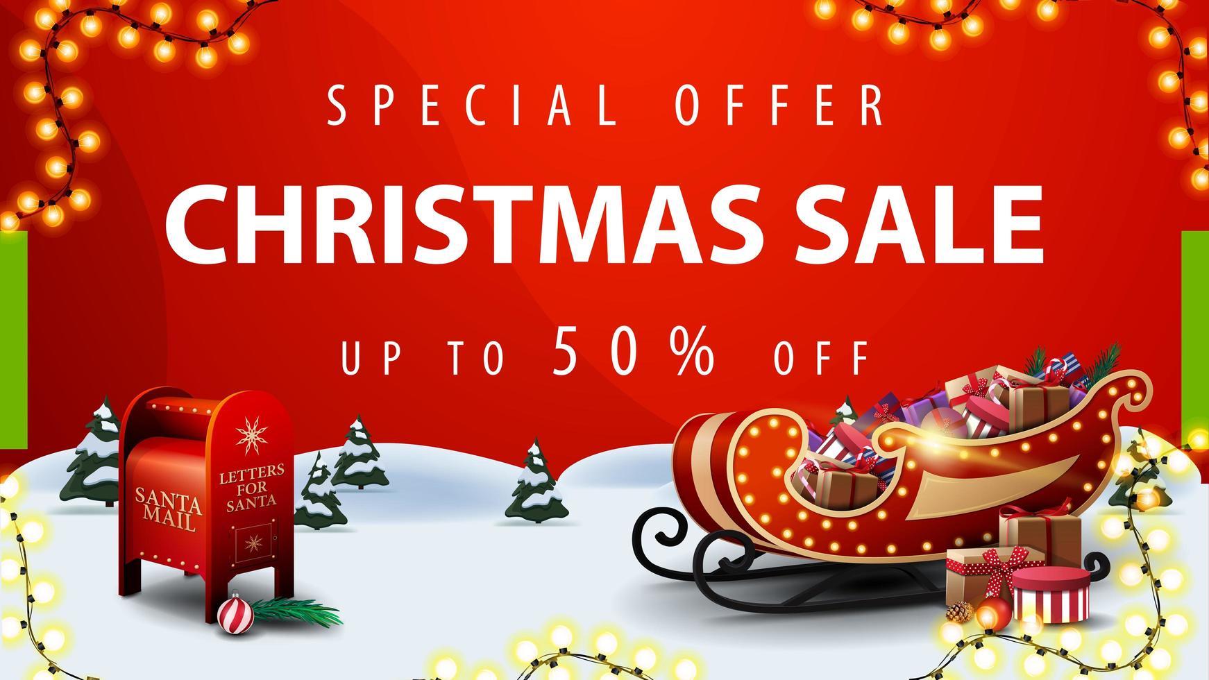 specialerbjudande, julförsäljning, upp till 50 rabatt, röd rabatt banner med tecknad vinterlandskap, santa brevlåda och santa släde med presenter vektor