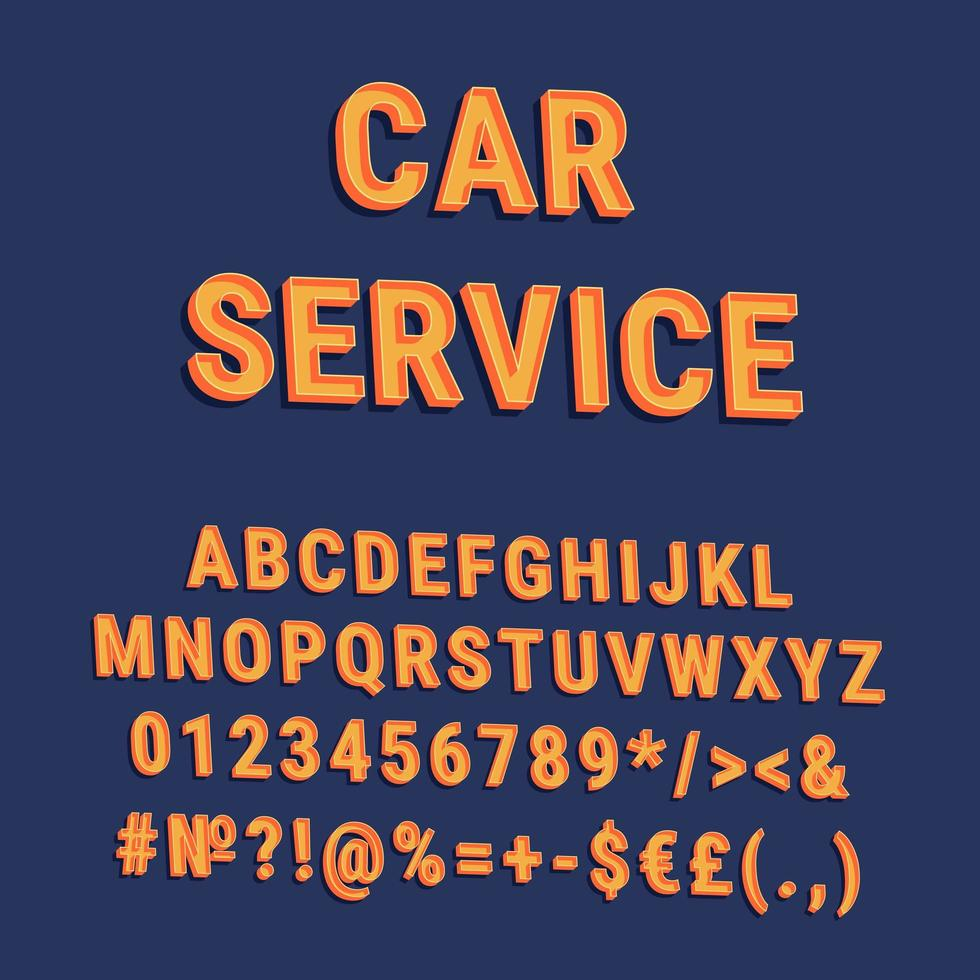 bil service vintage 3d vektor alfabetuppsättning