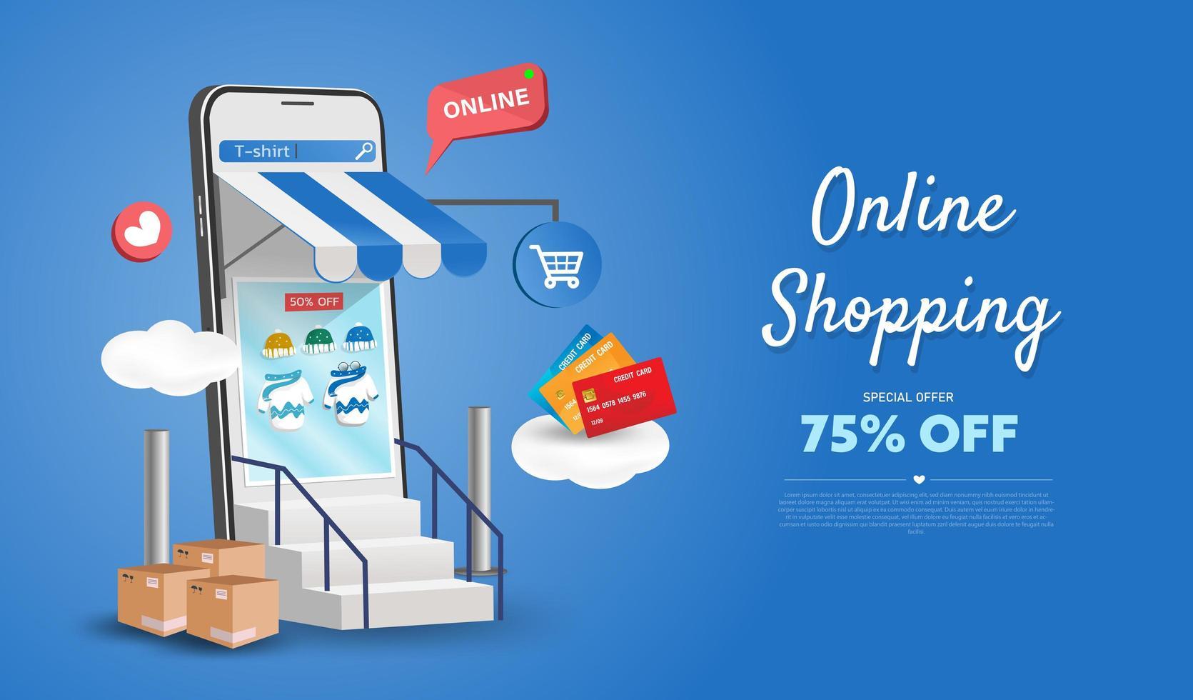 Online-Shopping-Shop auf Website und Handy-Design. Smart Business Marketing-Konzept. horizontale Ansicht. Vektorillustration. vektor