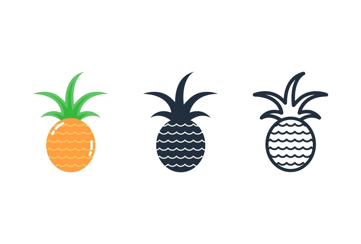 ananas ikon, frukt Ikonuppsättning vektor