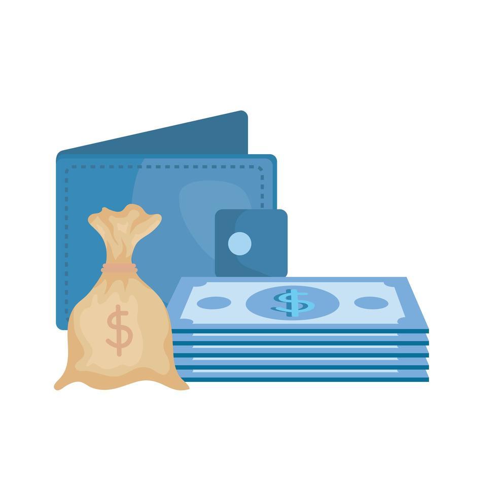 räkningar pengar med plånbok och säck vektor