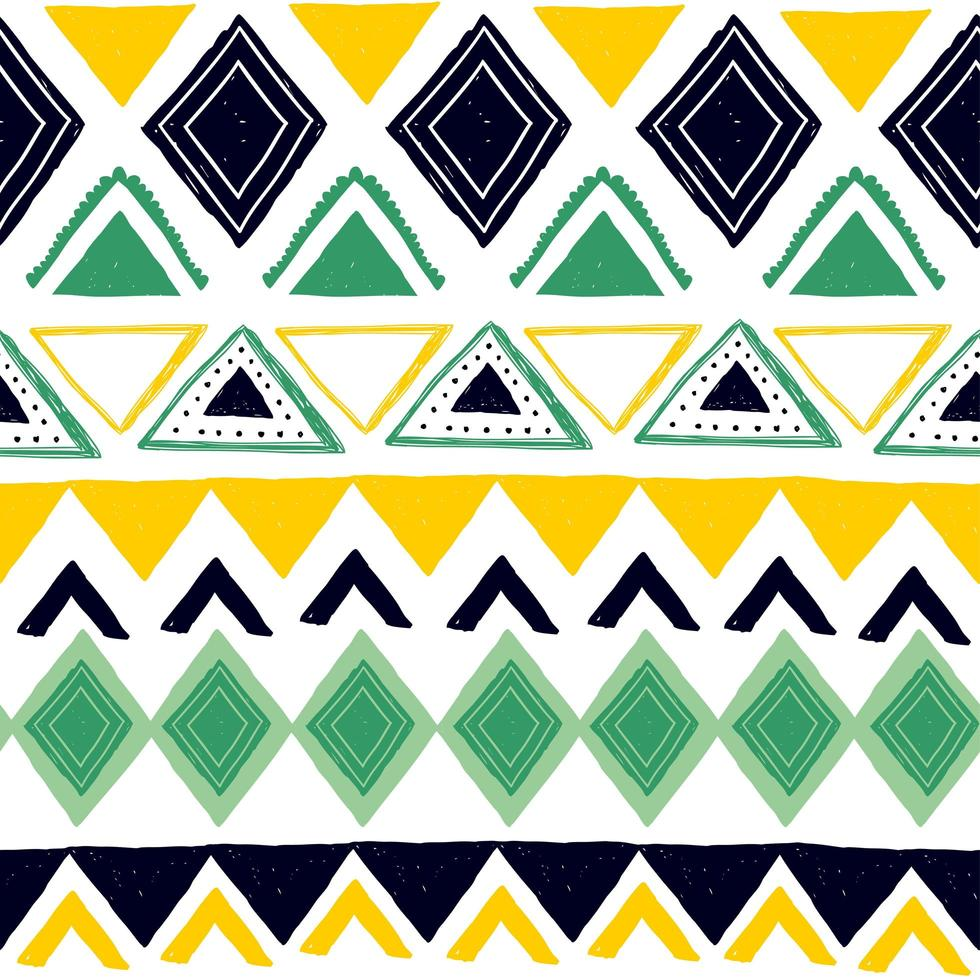 nahtloses Streifenmuster. ethnische und Stammesmotive. Vintage-Druck, Grunge-Textur. aztekischer, afrikanischer, asiatischer, indischer und Maya-Stil. Hand gezeichnete Vektorillustration der böhmischen geometrischen Streifen. vektor