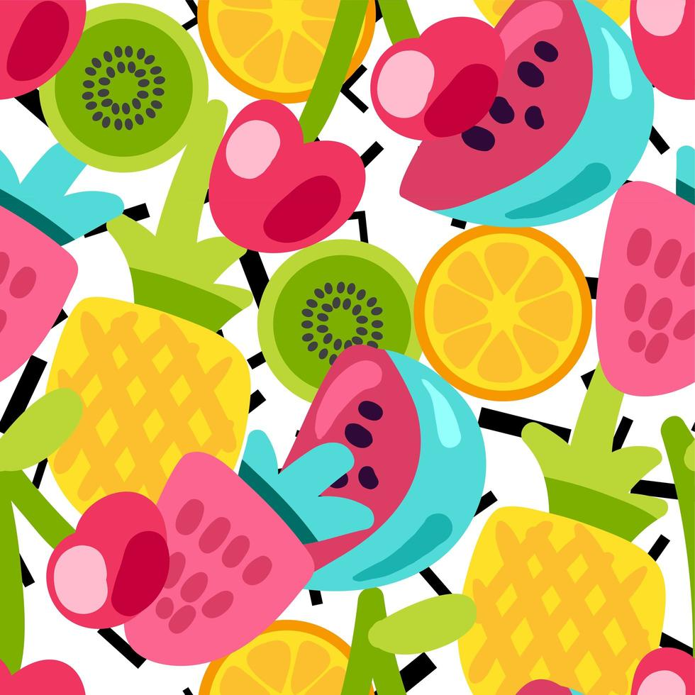 färg frukt sömlös vektor mönster