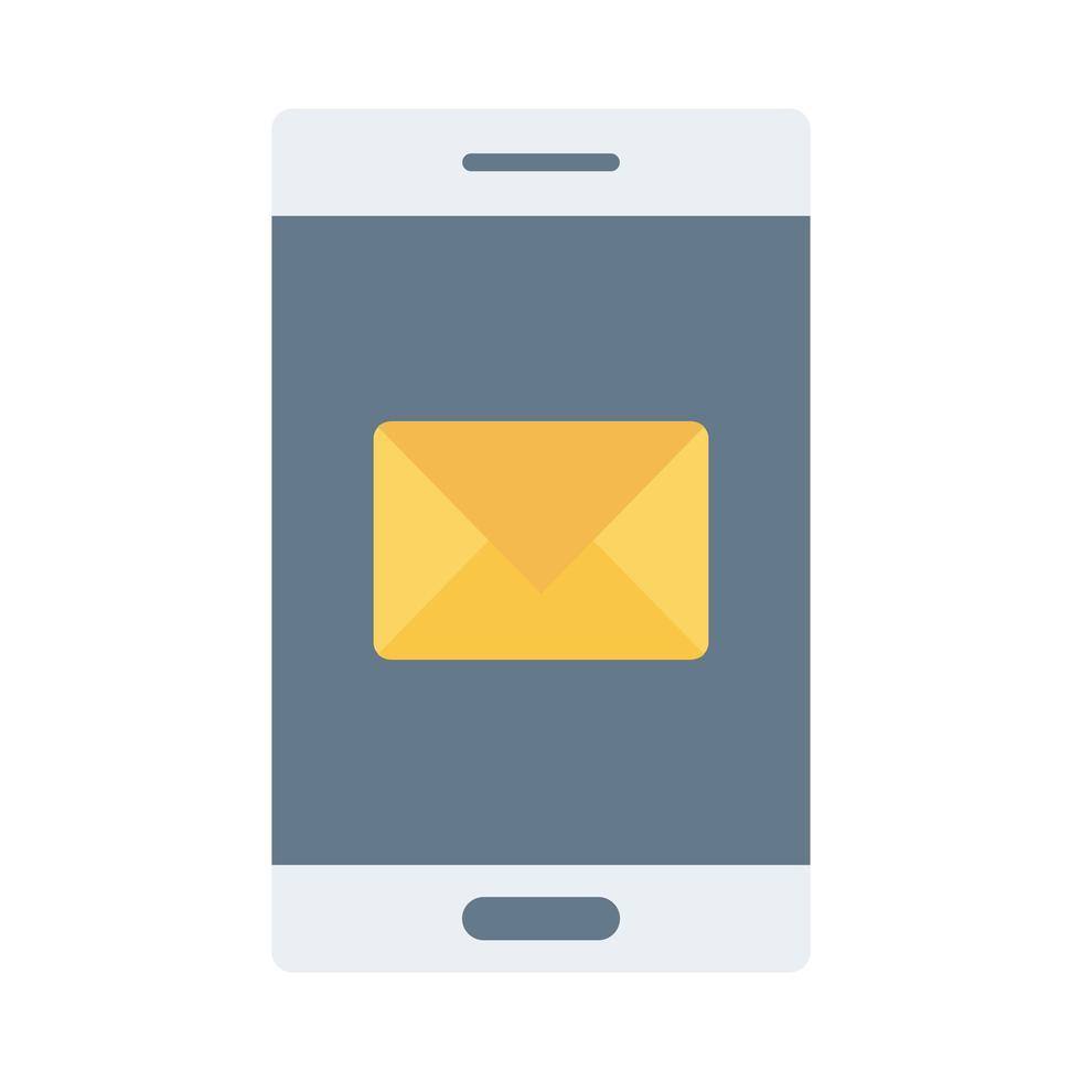 smartphone-enhet med kuvert platt stilikon vektor