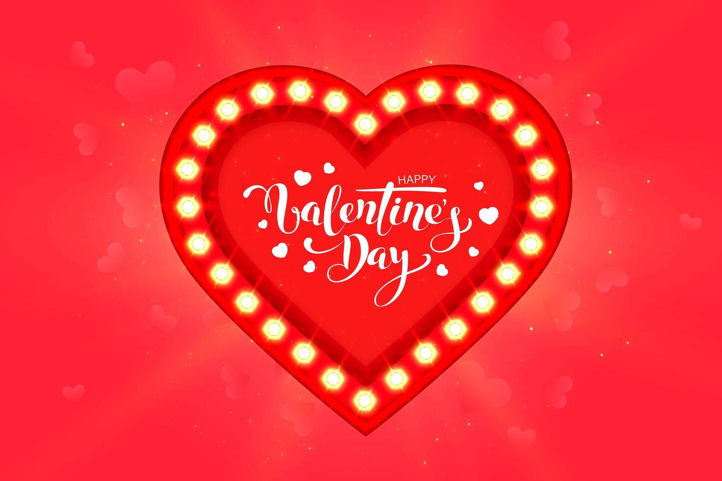 glad Alla hjärtans dag gratulationskort design med ram vektor