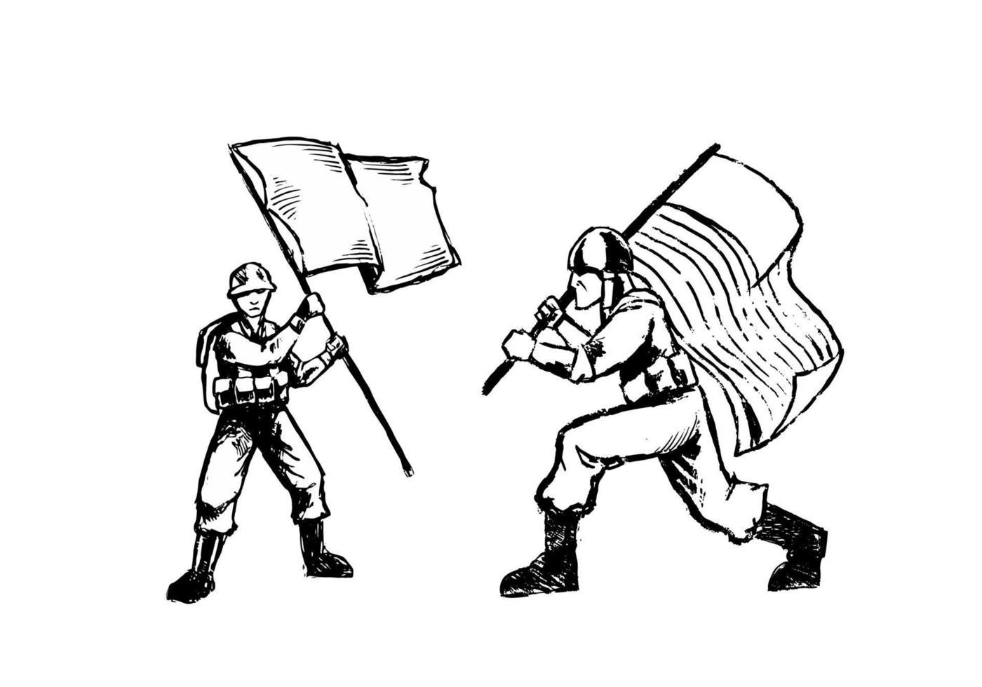 Hand gezeichneter Soldat, der Flaggenillustration lokalisiert auf weißem Hintergrund bringt. monochromer Soldat, der Flaggenillustration lokalisiert auf weißem Hintergrund bringt. vektor