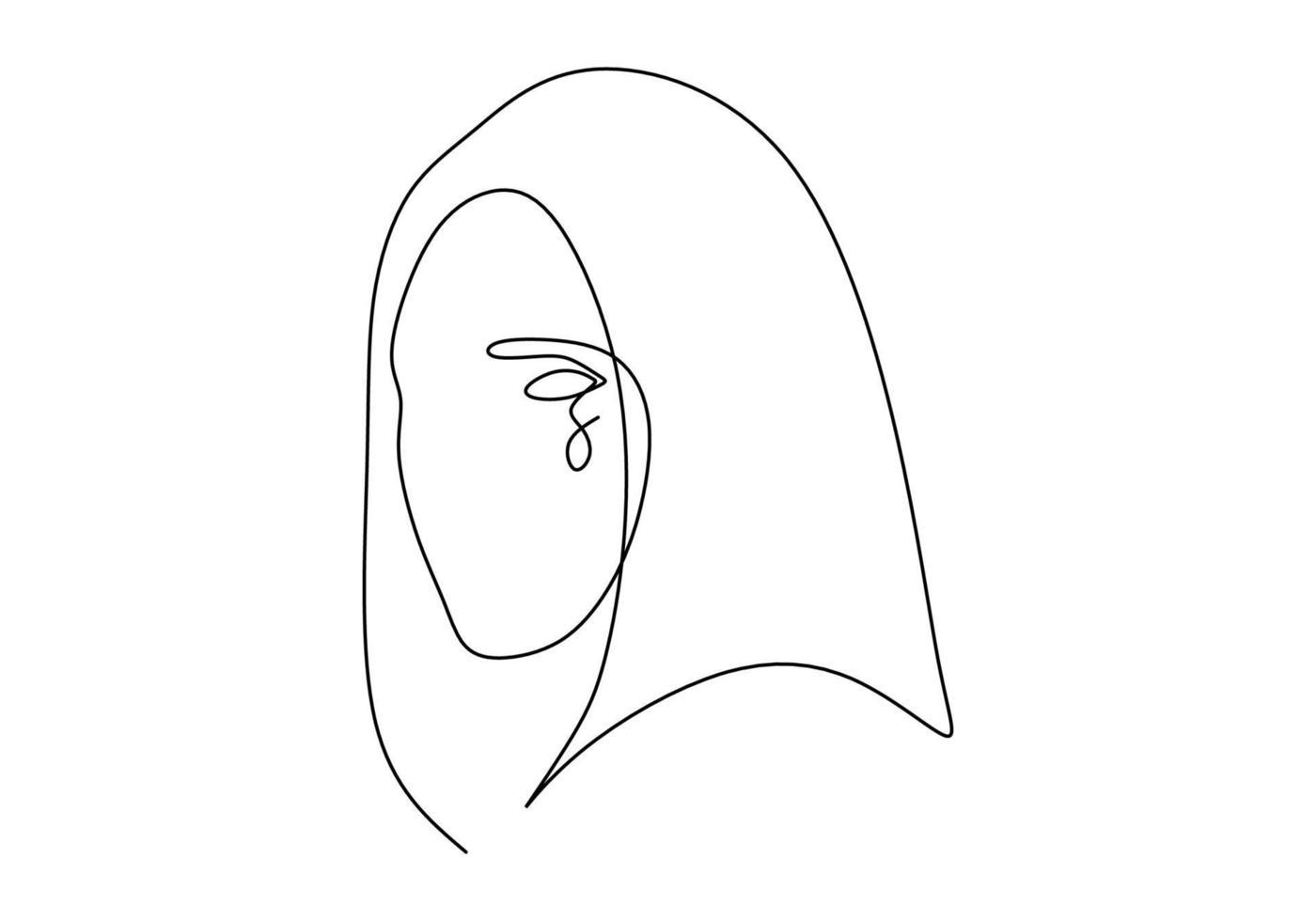 kontinuerlig linje ritning ansikte abstrakt. minimalism vektor isolerad på vit bakgrund.