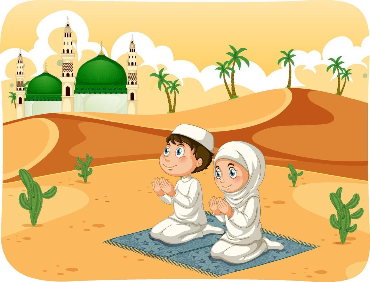 muslimsk syster och bror i bönposition seriefigur vektor