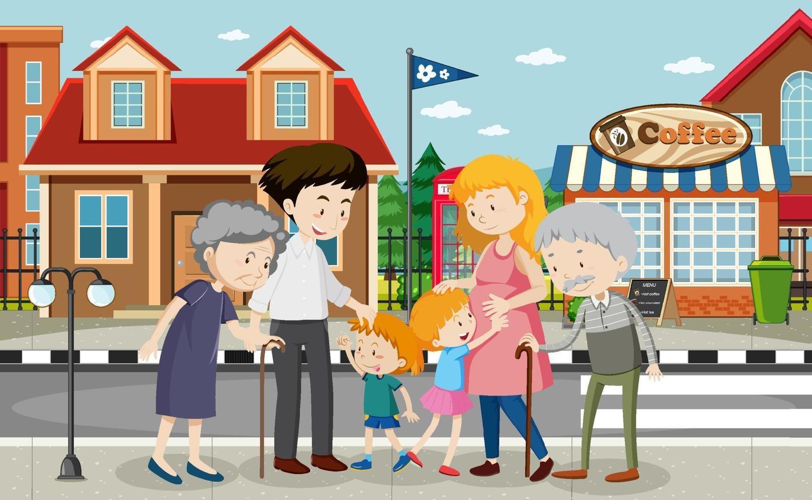 utomhus scen med familjemedlem vektor