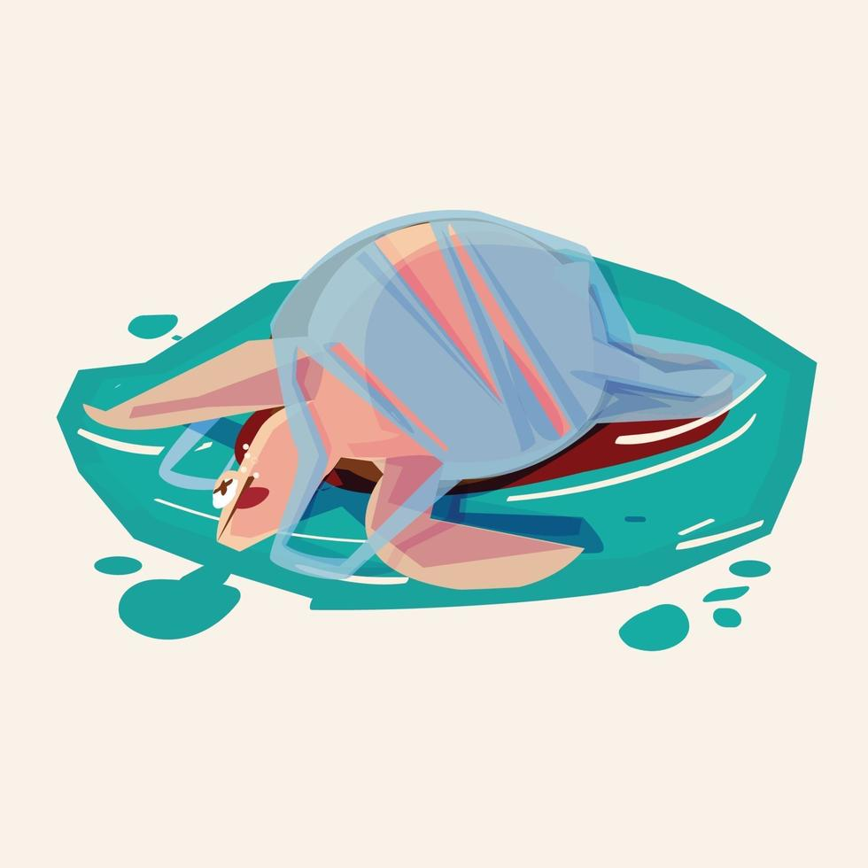 Schildkröte in Plastiktüte. Verschmutzungskrisenkonzept vektor