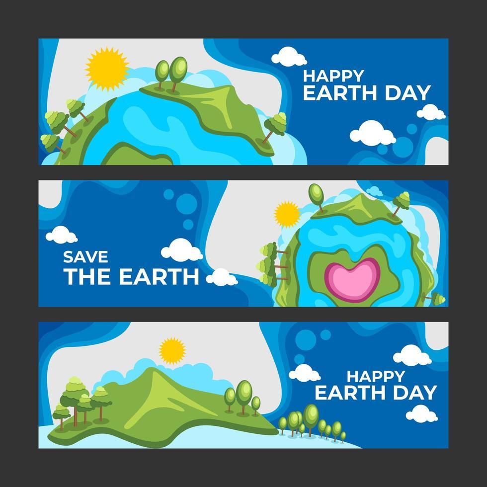 enkel platt banner för lycklig jorddag vektor
