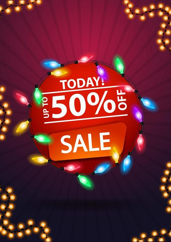 idag, försäljning, upp till 50 rabatt, rund röd banner med färgglad krans vektor