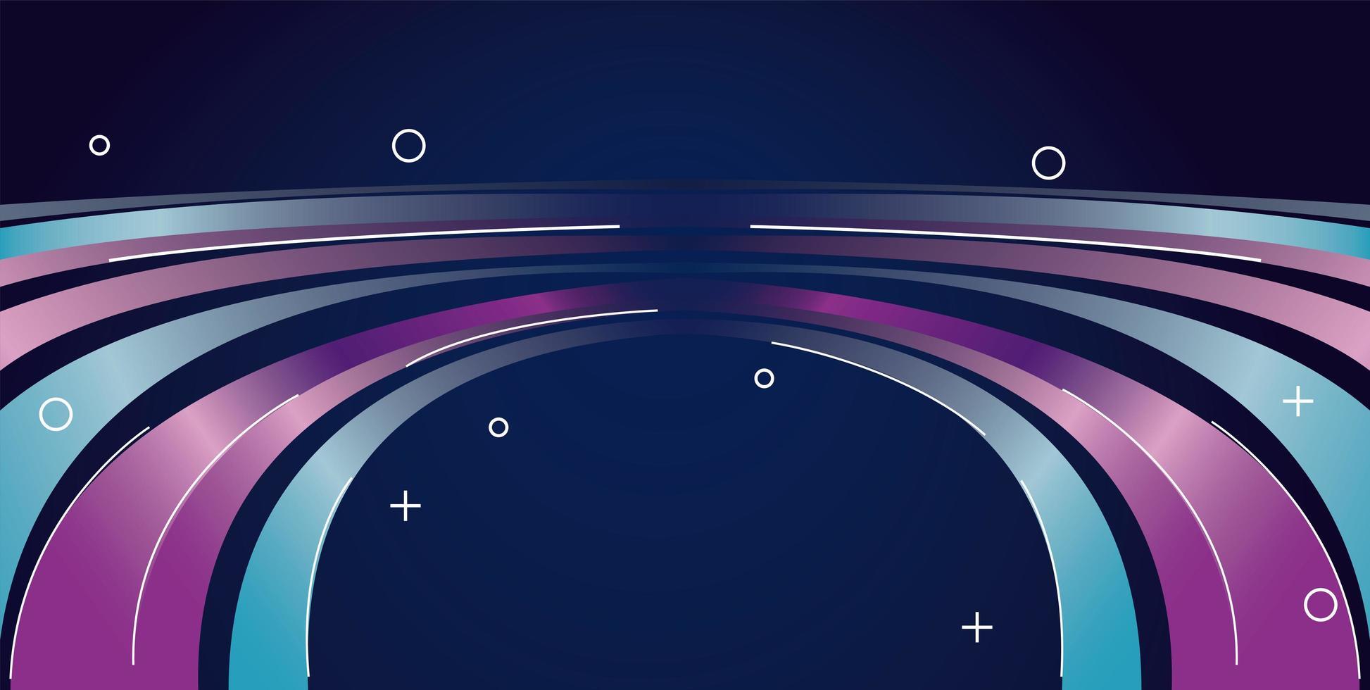 färgglada ljus spår i lila och blå bakgrund vektor