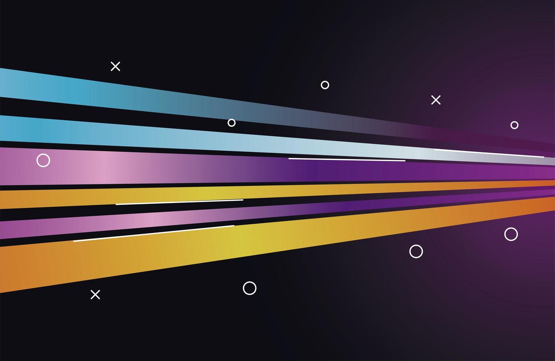 färgrik ljus spår i blått och lila med gul bakgrund vektor