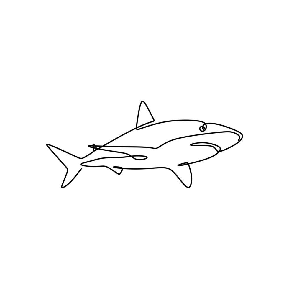 haj fisk, en linje ritning design silhuett. logotyp vektorillustration, bra för emblem, affisch, tatuering med minimalism stil. vektor