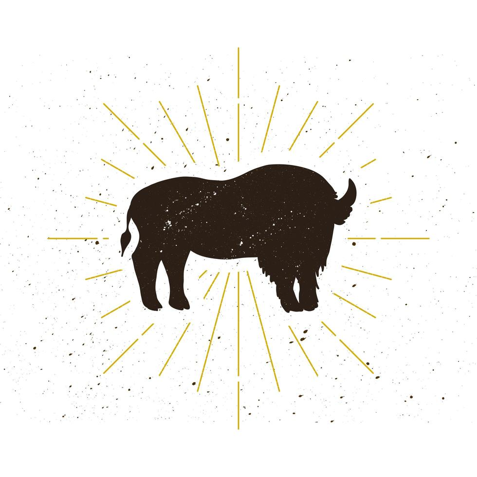 retro stående bison silhuett logotyp vektor