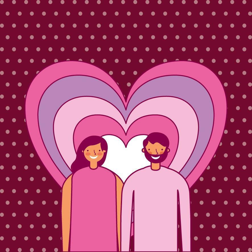 Valentinstag Design mit Liebhabern vektor