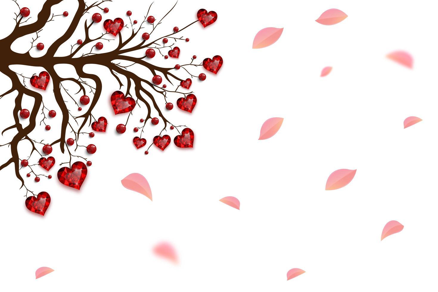 glad alla hjärtans dag. träd dekorerad med röda hjärtan och pärlor. ruby juvel. alla hjärtans kort. vektor