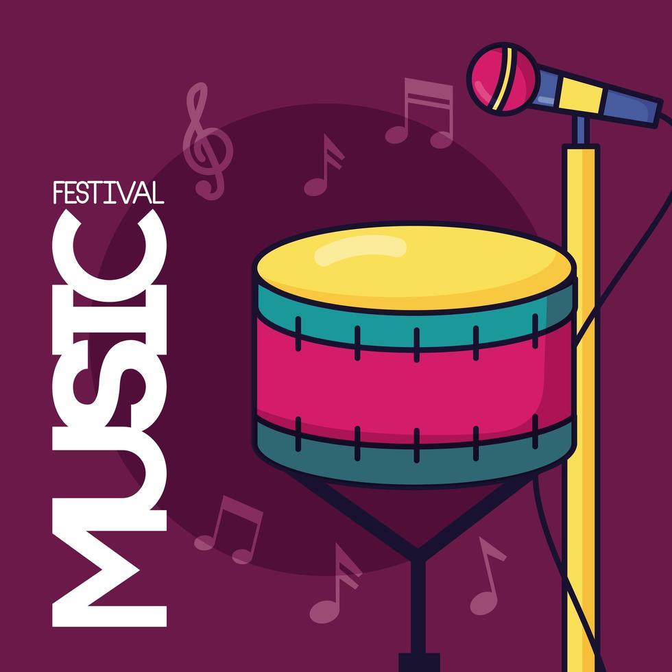 Musikfestivalplakat mit Trommel und Mikrofon vektor