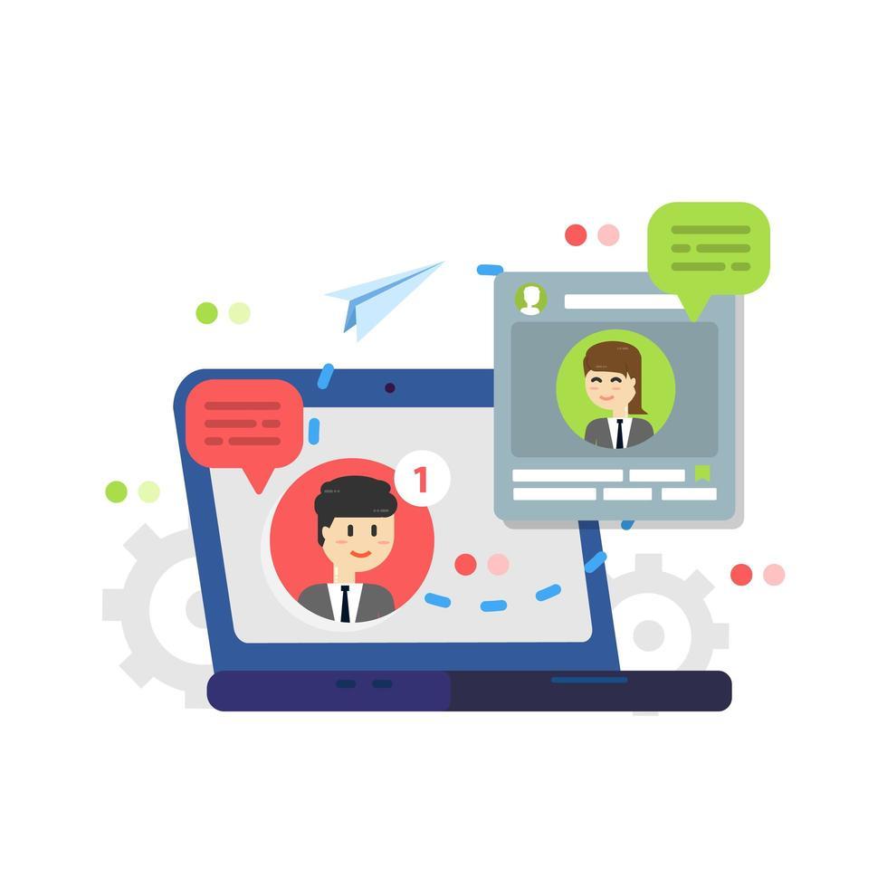 meddelande om nya chattmeddelanden, sociala nätverk, nyhetskoncept vektor