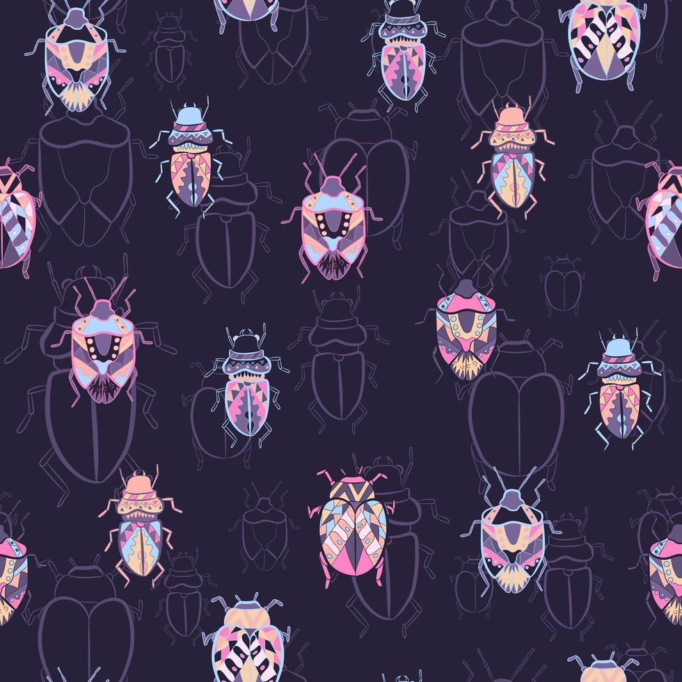olika typer av buggar sömlösa mönster vektor